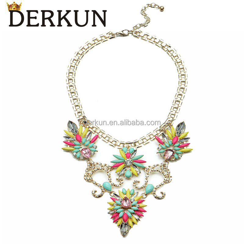 Fashionable cord braided big metal alloy multi color gemstones crystal flower shaped pendant necklace
