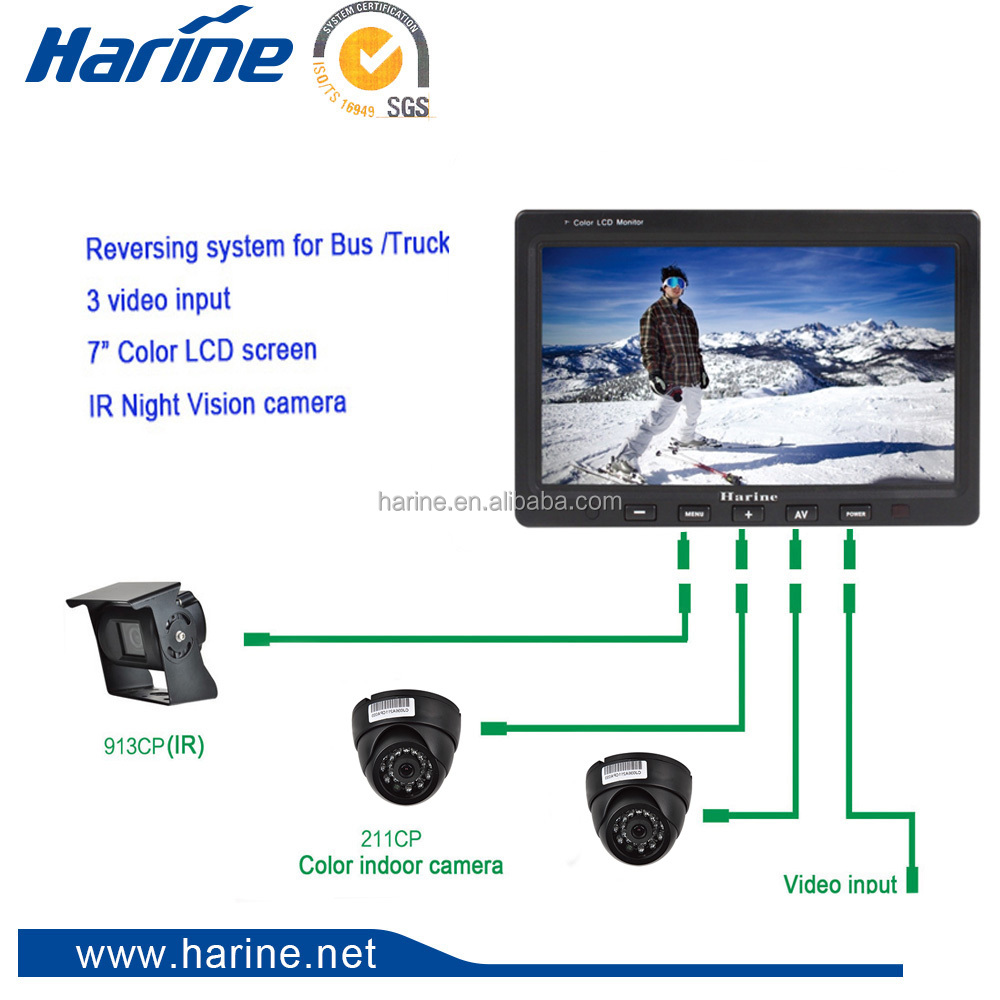 "7"" Screen bus trailer truck Reversing Aid Rear View camera System with 3 video input"