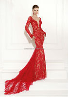 Latest Style Sheath hot red long sleeve v neck open back full lace Evening Dress