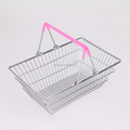 547-64C hot sale wrought pink metal mini shopping basket with pvc coated handle