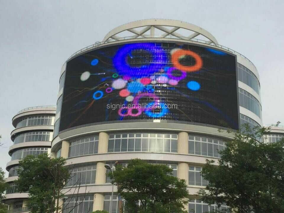 HD P10 Curved DIP Outdoor Led Display Board For Advertising , Exterior Led Screen