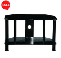 black tempered glass powder coated cheap TV stand