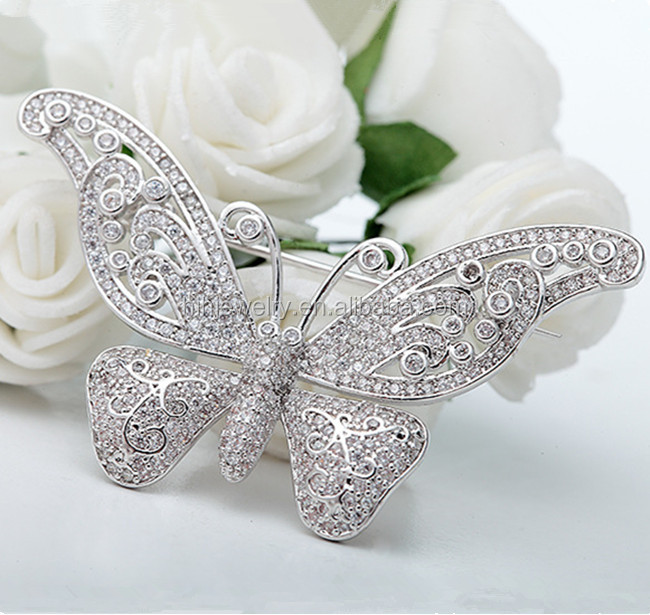 Fashion wedding invitation jewelry wholesale butterfly rhinestone brooch for wedding in bulk