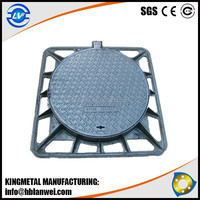 Black Bituminous Paint EN124 Round Cover Square Frame Ductile Cast Iron Manhole Cover
