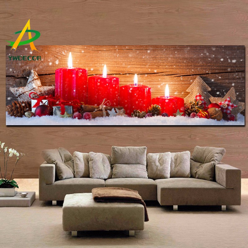 light up red candle fabric painting christmas decoration canvas painting with led lights