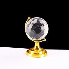 60mm Popular world globe round crystal transparent glass ball with metal for sports
