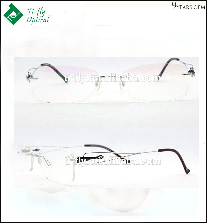 timeless burgundy diamond rimless titanium eyeglass frames for women