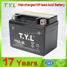 YTX4L-BS 12v4ah wet charged motorcycle mf lead acid battery for wholesale