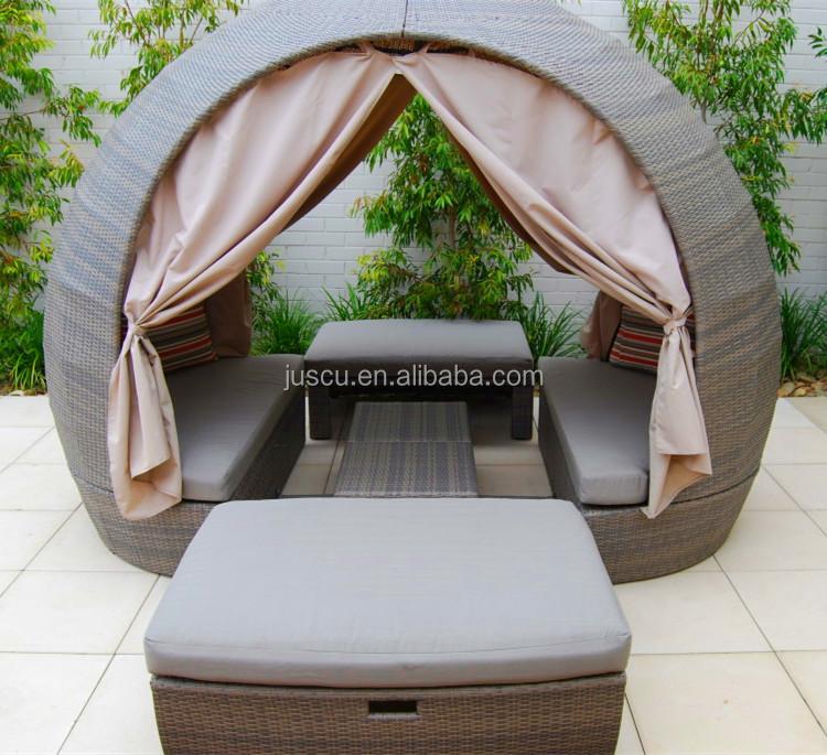 AuBergewohnlich Rattan Runden Outdoor Lounge Bett Outdoor Möbel Daybed Runden Schlafcouch  Mit Baldachin Outdoor