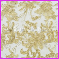 Alibaba express german champagne lace fabric for party dress WLF49