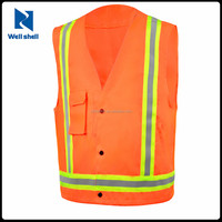 orange color twill fabric high visibility safety vest fabric