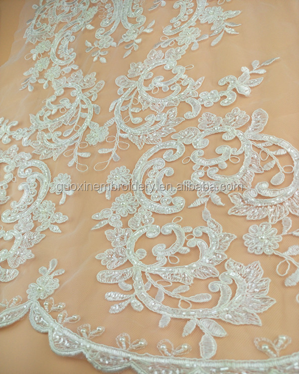 Fashion beaded lace wiith pearls and tubes by heavy work for wedding dress