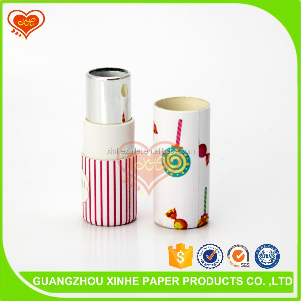 Custom design printed cardboard paper round Lipstick packaging tube wholesale