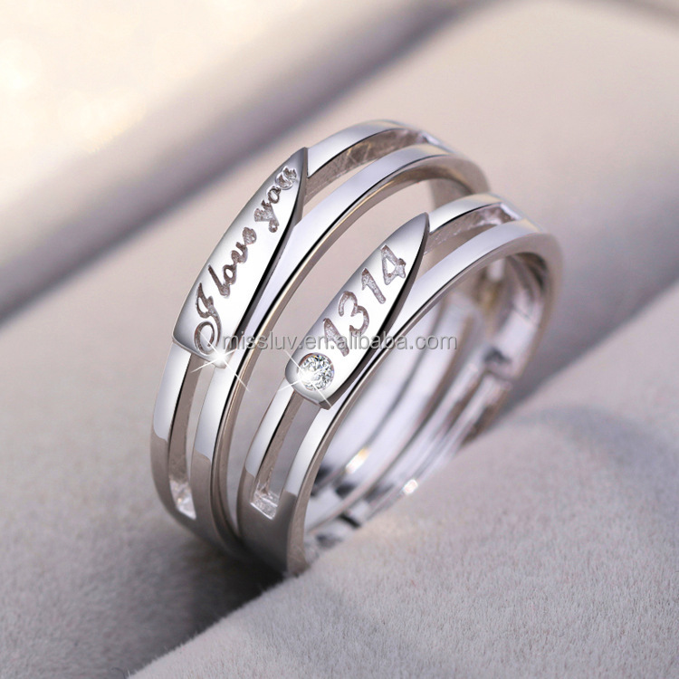 fashion wedding zircon 925 sterling silver 1314 I love you rings for couple lover