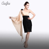 Caijia Elegant Fashion Design One Shoulder chiffon Cocktail dress