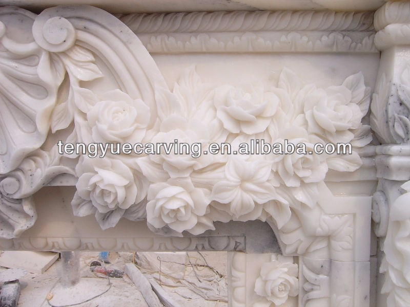 Natural marble stone decoration french style white fireplace mantel