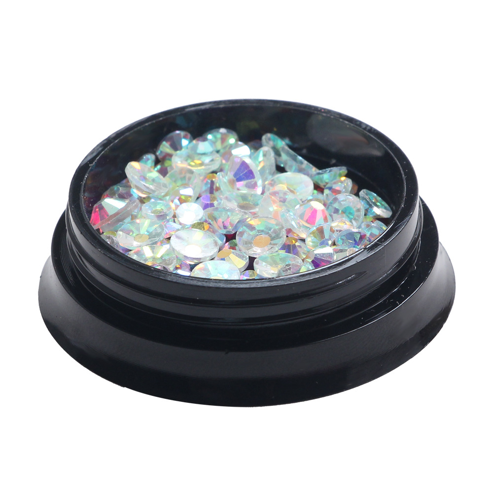Japanese hot sale transparent AB color nail art decels flat keep rhinestones DIY decoration mixed in a 4cm box