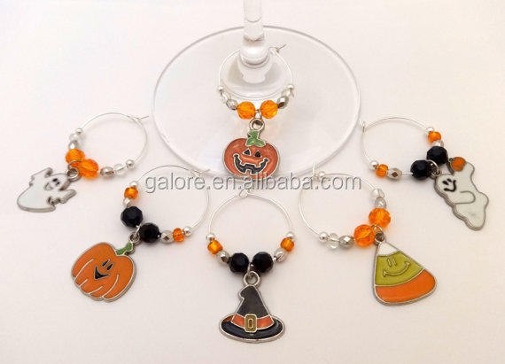 GWN073 custom design new promotional gift items halloween wine charms