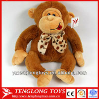2013 best selling naughty sitting plush orangutan toy with tie