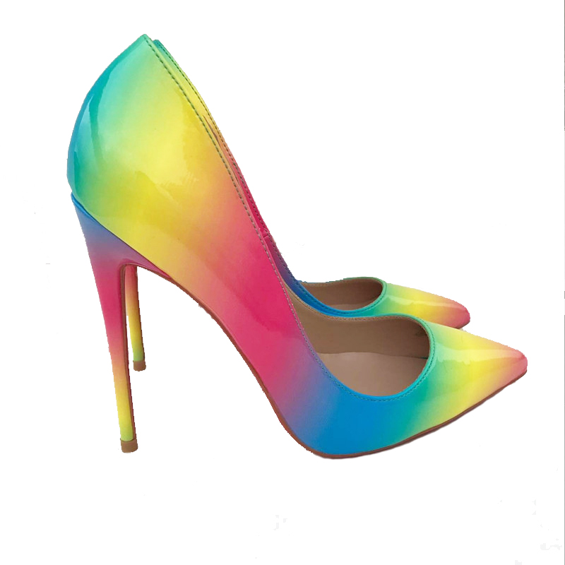Stiletto <strong>Heels</strong> 2018 Wholesale Sexy 12cm High <strong>Heel</strong> Shoes Ladies Fashion Rainbow Print Dress Shoes for Women