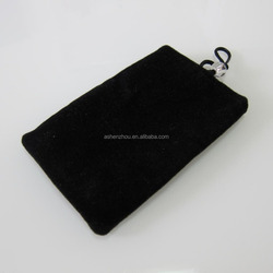 Fashion high quality professional custom velvet cell phone pouch mobile phone pouch flannel phone bag