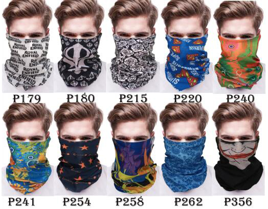 KaPin colorful skull designs head scarf multifunctional seamless neck tube scarf for men women