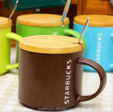 selling new product mug Matte ceramic coffee mugs with a wooden lid and spoon