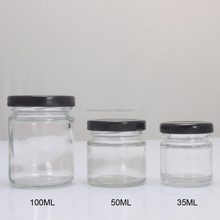 35ml-100ml hexagon clear glass jar with lids