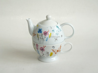 Elegant porcelain ceramic teapot with cup for one person