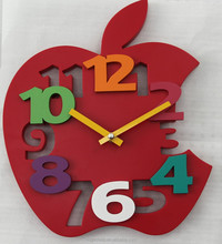 Fashion 3D Apple shape wall clock