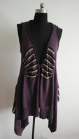 Hot sell ladies stripe knit sleeveless long cardigan