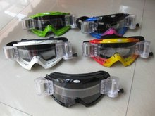 Motorcycle Goggles w/ Roll Off System Motocross Dirt Bike Off-Road Enduro