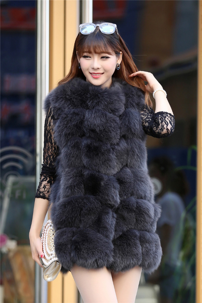 High Quality Fox Fur vest,Black hair with white tip , fox fur vest for women.real fur winter jacket