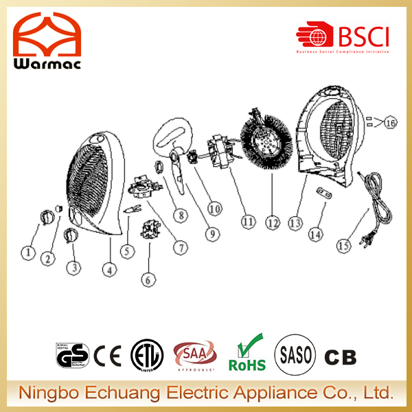 Fan heater spare parts including electric heater switch,thermostat,heating element,motor,housing,power cord