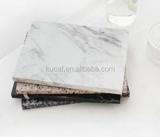 Custom Paper Marble Notebooks with Gold Foil Logo