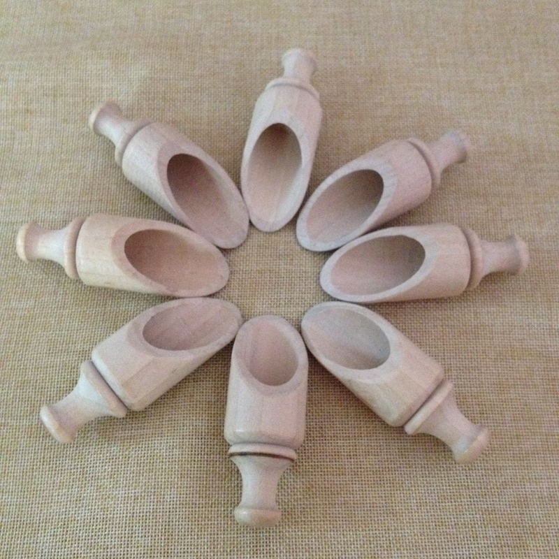 Unfinished Round wooden bath salt scoops, small candy scoops Wholesale Dongguan