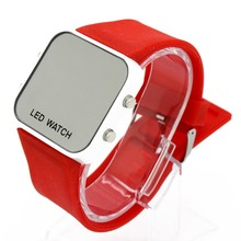 New High Quality Square Dial LED digital watch silicone Bracelet Digital Watches For Men