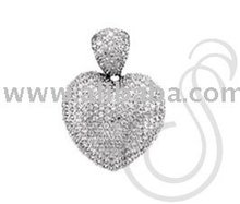 Gold or Rhodium Plated Heart Pendant w/ Pave set Austrian Crystals