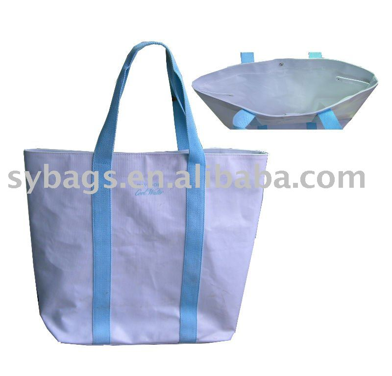 PVC composited cotton waterproof shopping bag / cotton canvas shopping bag / promotional custom logo shopping bag
