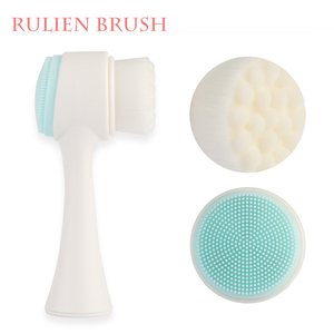 2018 new design double sided silicone face massage cleansing facial brush