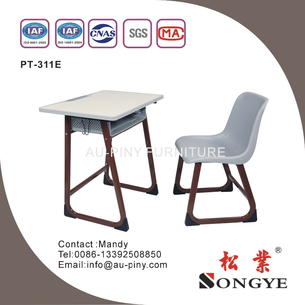 (Furniture)Frame is steel tube cheap school chair with desk of classroom furniture