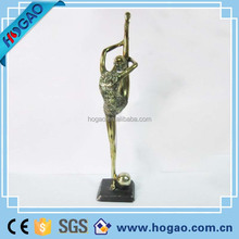 polyresin gold-plated ballerina figurine, silver plated ballet dancer