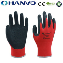 HANVO Anti Slip Latex Rubber polyester Fiber Safety Gloves / Industry crinkle latex Working Glove