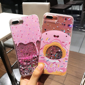 Factory production, customized packaging logo and products.Cute Icecream Doughnut PC Liquid Mobile Phone Case For iPhone