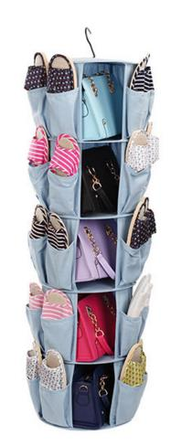 Fabric Carousel Spins 360 degrees 5-Shelf Closet Organizer