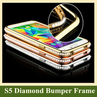 Fashionable Diamond Crystal Rhinestone Metal Bumper Frame Capa Para Celular for Samsung Galaxy S3 S4 S5