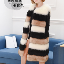 2017 fashion long style winter womens faux fox fur gilet/vest with fur collar fur coat factory wholesale from China