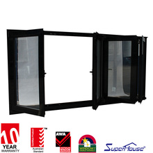 superhouse high qulity aluminium folding balcony window with grilles