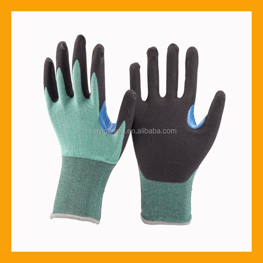 18Gauge U2 Knitting PE Cut Resistant Glove Liner Black Thumb & Index Finger Strengthen Glove Anti-slip Sandy Nitrile Gloves