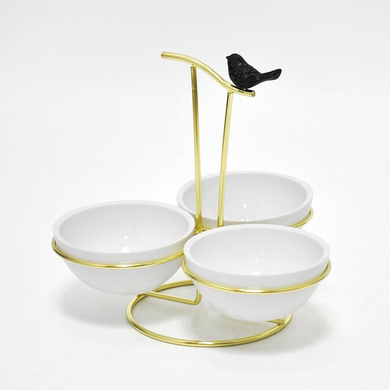 Plastic Black Bird for Decoration Plastic Snack Dish with Rack
